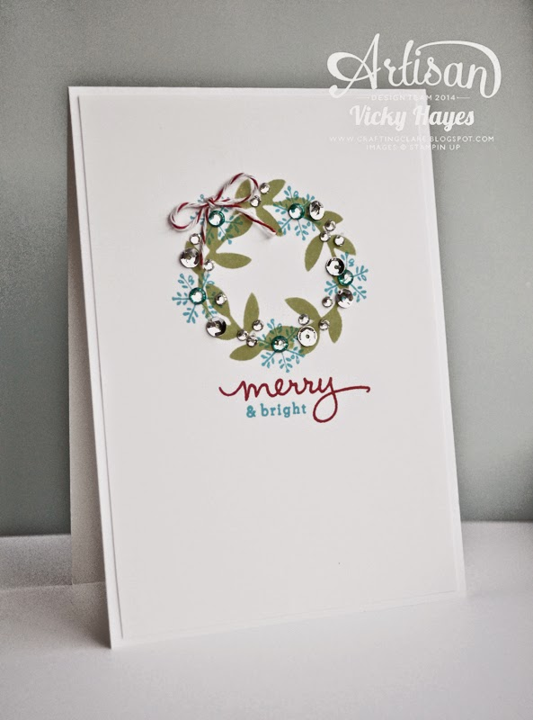 Stencil a wreath - another idea for using the Stampin' Up bird punch from UK demonstrator Vcky Hayes