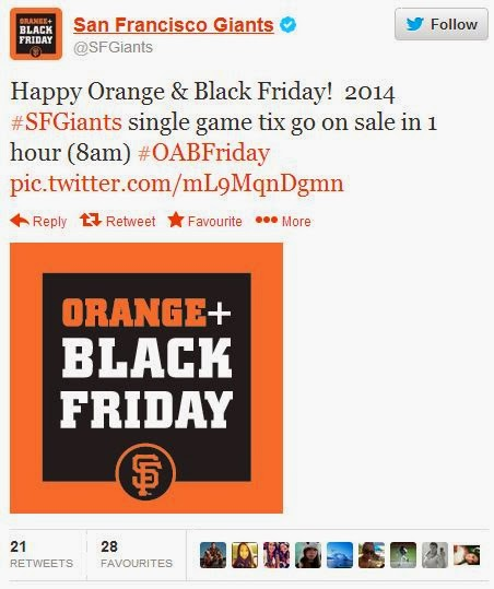San Francisco Giants Black Friday tweet