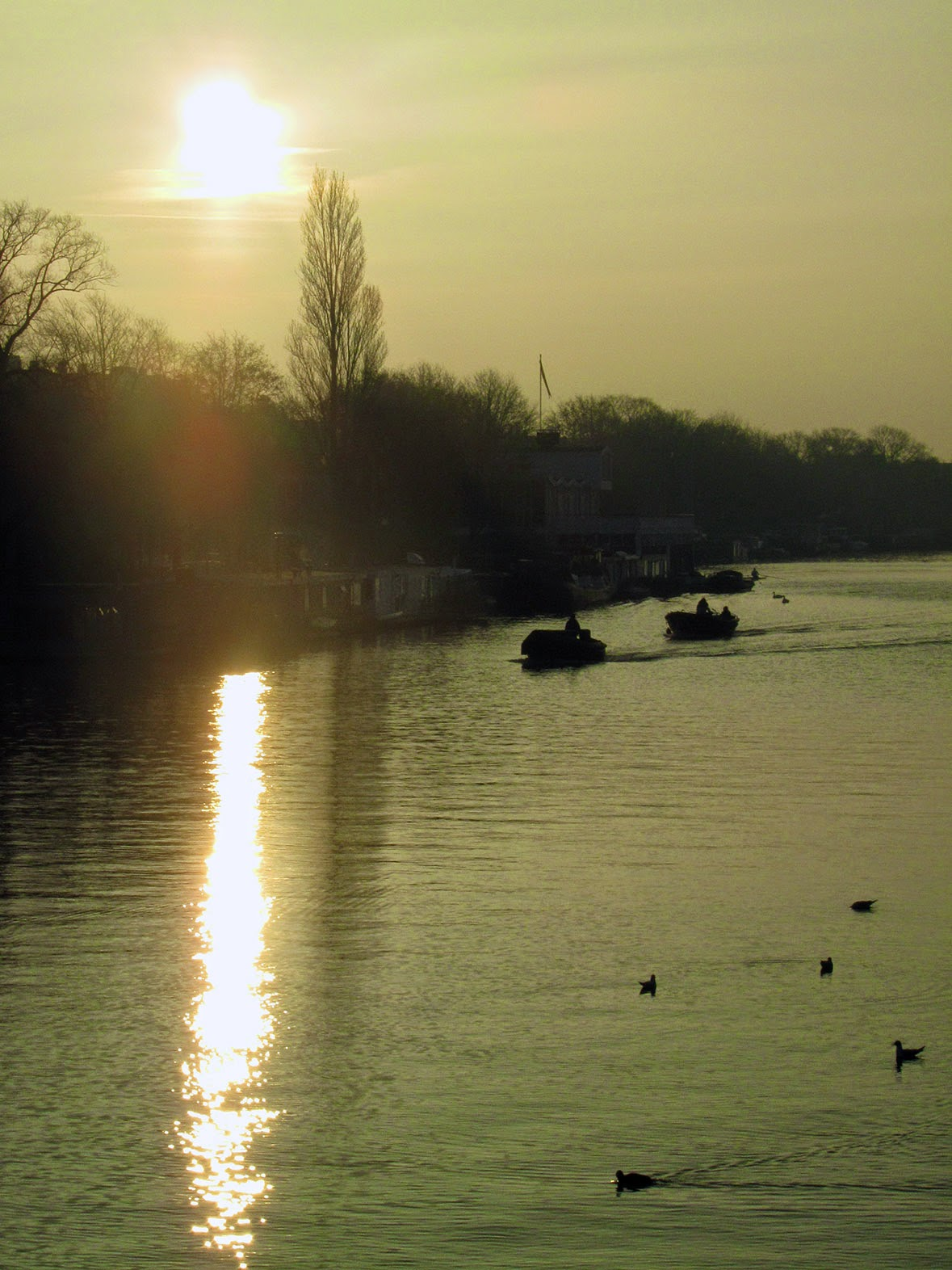 sunrise over the river Amstel