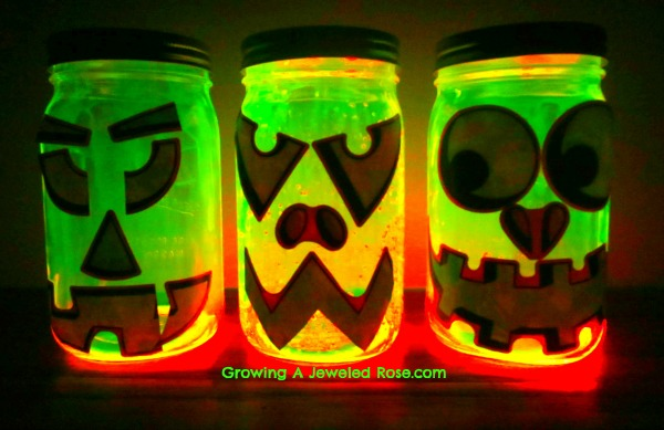 glowing pumpkin jars glow in the dark