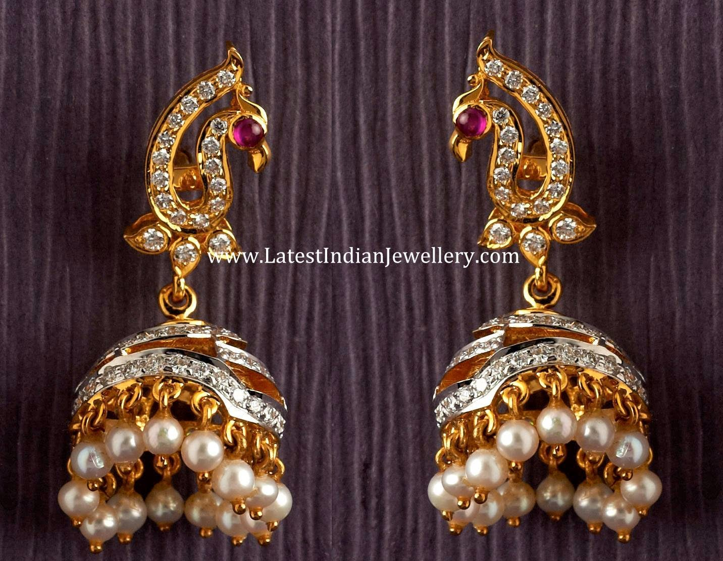 Spectacular Peacock Design Diamond Jhumkas