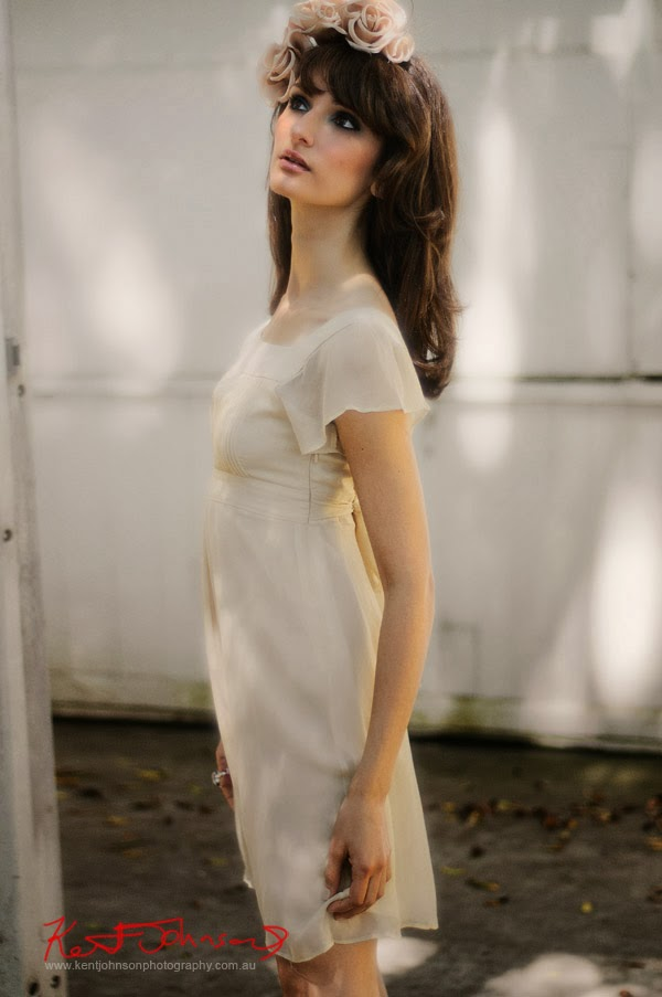 Short Bridal Dress Photographed on location in Sydney, Australia by Kent Johnson.