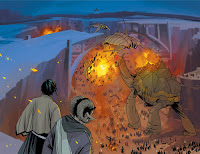 Saga issue one (#1) battle image, pages 40-41