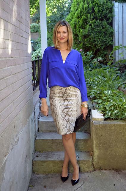 Python Skirt & Purple Blouse