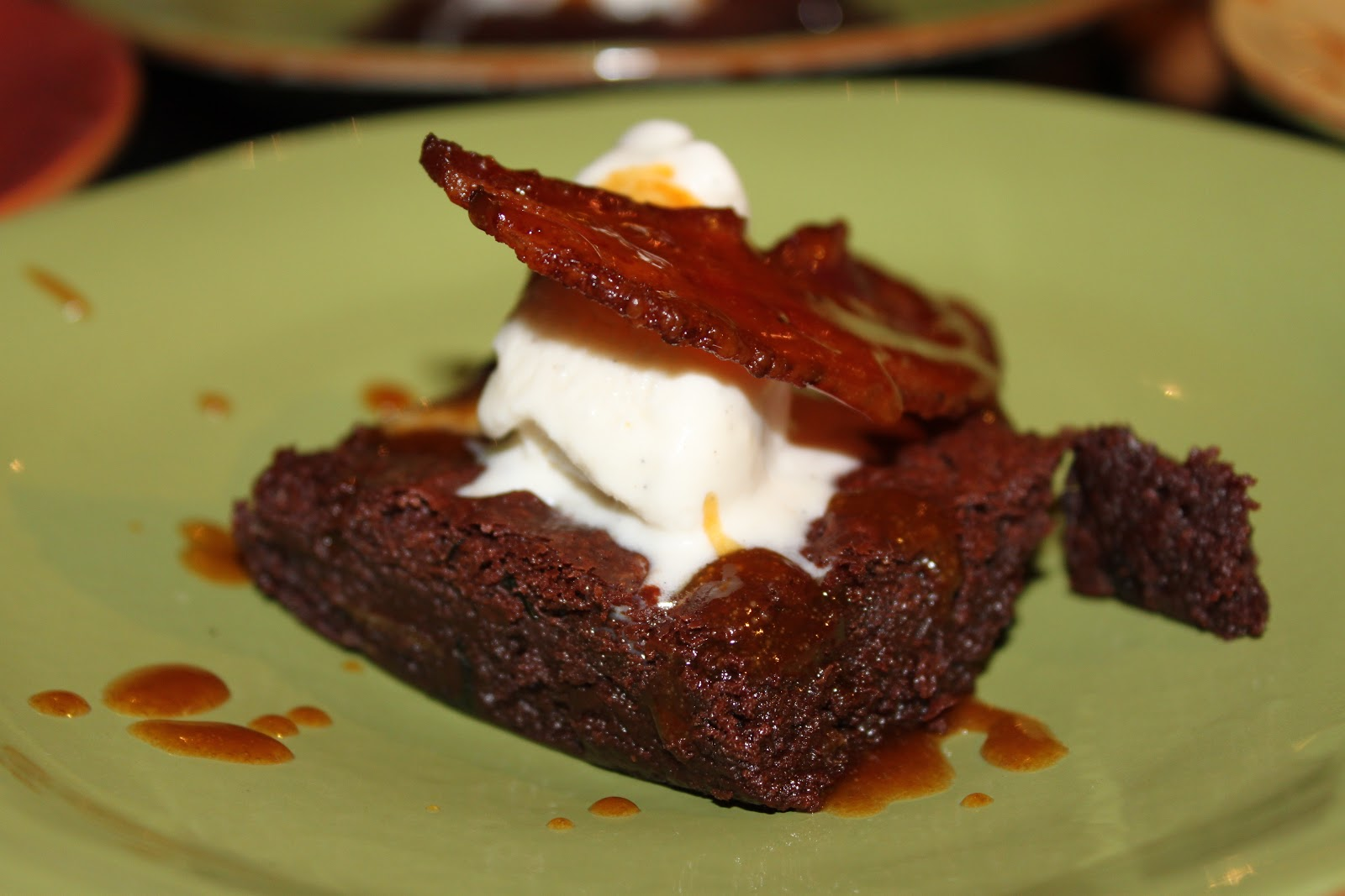 ... Denny's Baconalia with Bacon Brownies with Bourbon Caramel Sauce