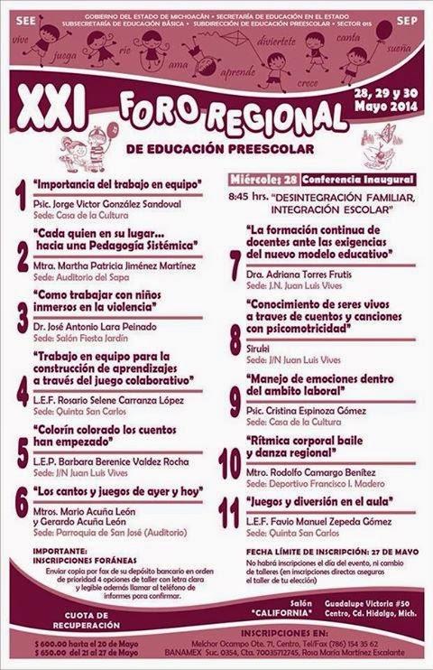 FORO REGIONAL DE EDUCACIÓN PREESCOLAR MICHOACAN