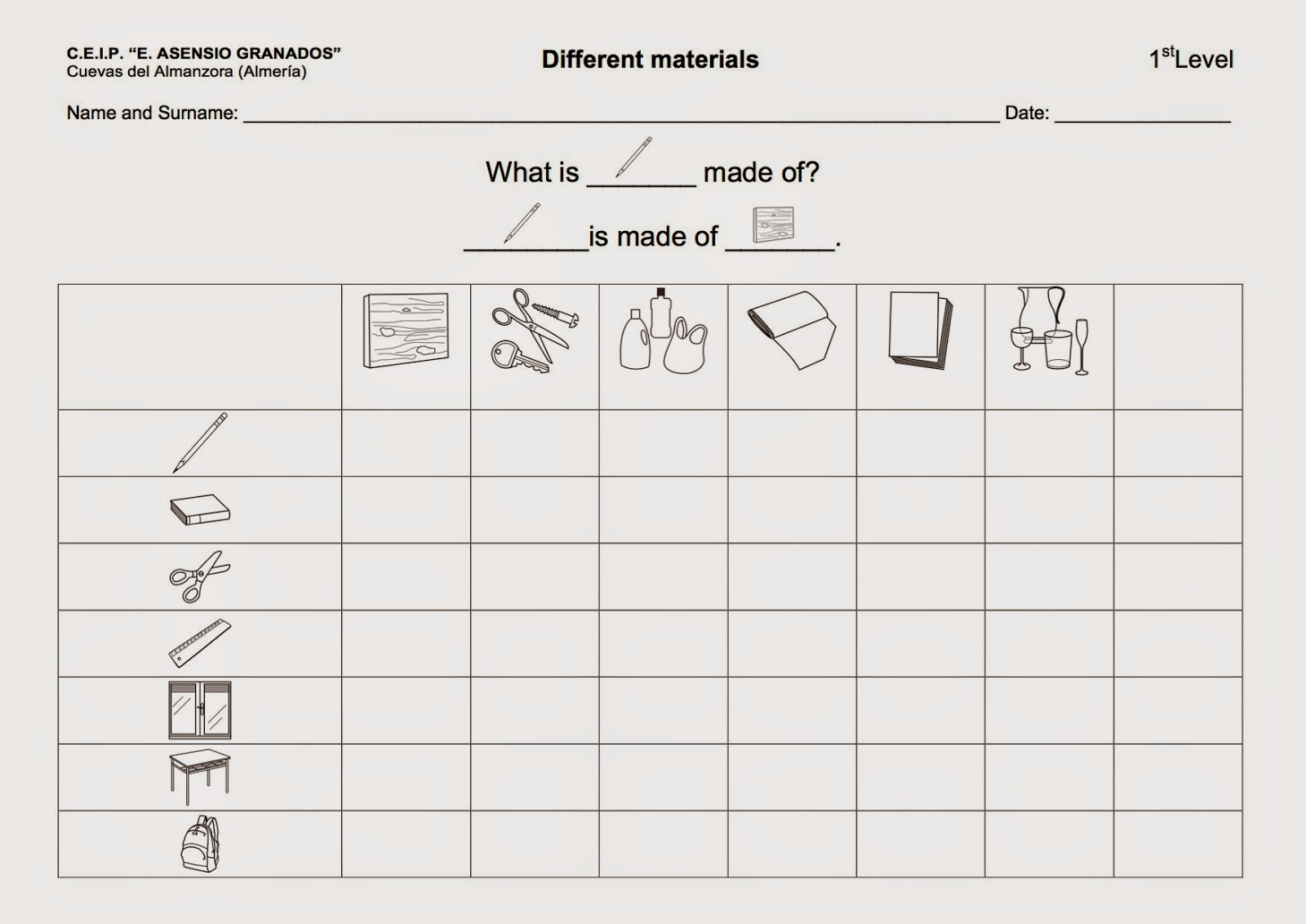 here is the worksheet 1 in this worksheet students assign materials to ...