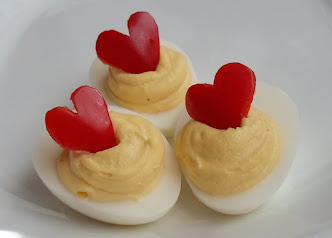 deviled eggs with bell pepper hearts