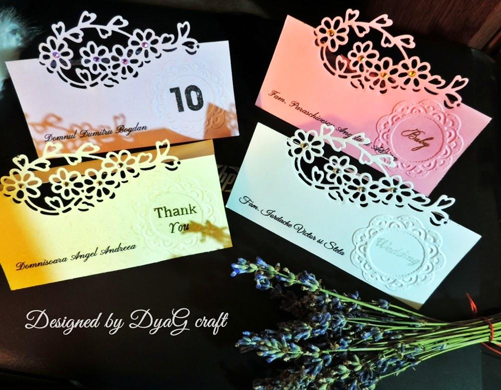 numere de masa nunta  botez floare dantelata si embosata
