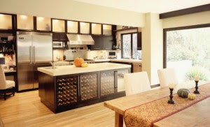 dream kitchen with wine racks installed in the kitchen island