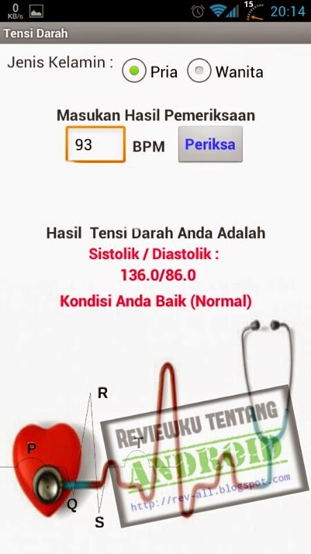 Contoh hasil konversi aplikasi TENSI DARAH DIGITAL - ketahui tensi darah dari jumlah denyut nadi permenit di android (rev-all.blogspot.com)