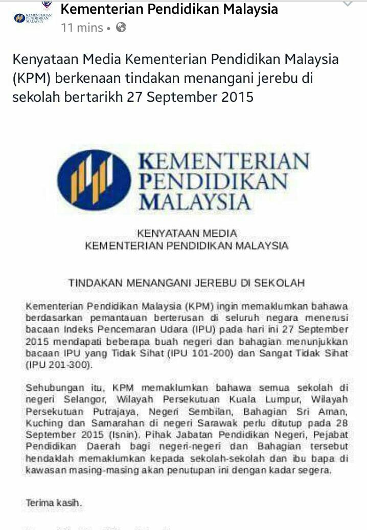 28-9-2015 Sekolah ditutup atas sebab Jerebu