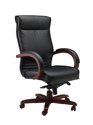Mayline Mercado Series Wood and Leather Executive Office Chair