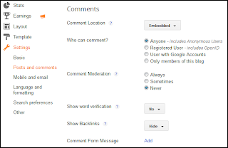 Posts and Comments,comments,posts,setting blogger,setting