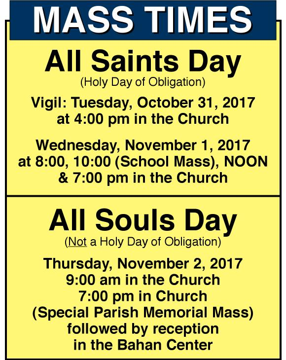 ALL SAINTS & ALL SOULS MASSES