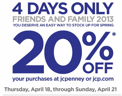 Print your new JCPenney Friends & Family coupon and save 20% off your