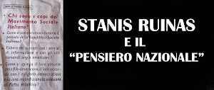 """STANIS RUINAS E IL """"PENSIERO NAZIONALE"""