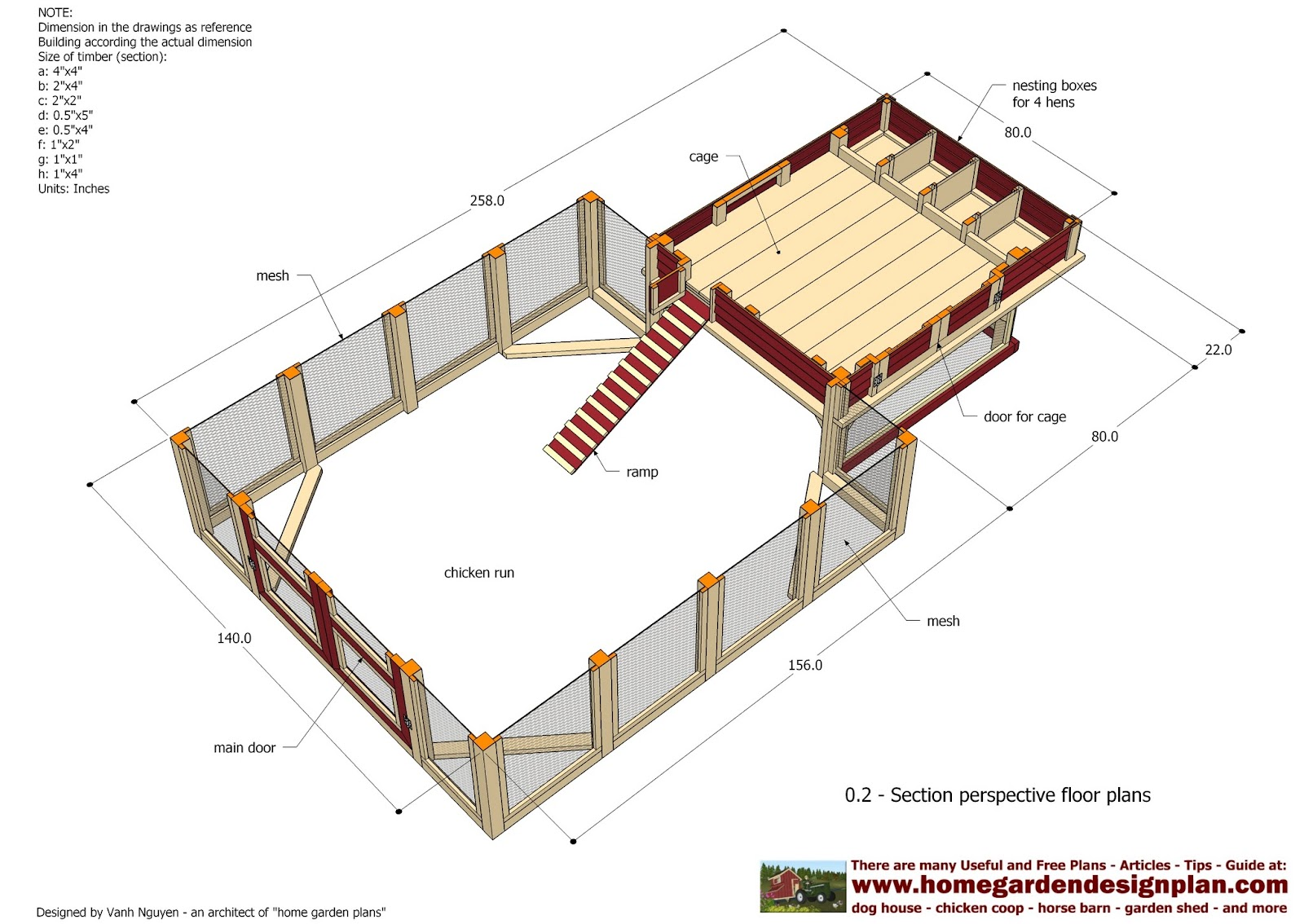 Home garden plans l100 chicken coop plans construction for Chicken coop size for 6 chickens