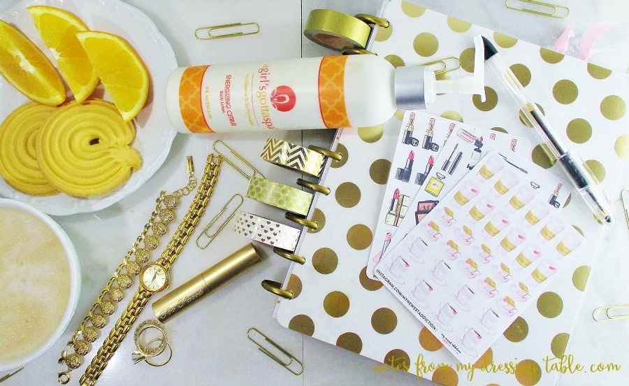 A Girls's Gotta Spa Energizing Citrus Body Lotion and Planner notesfrommydressingtable.com