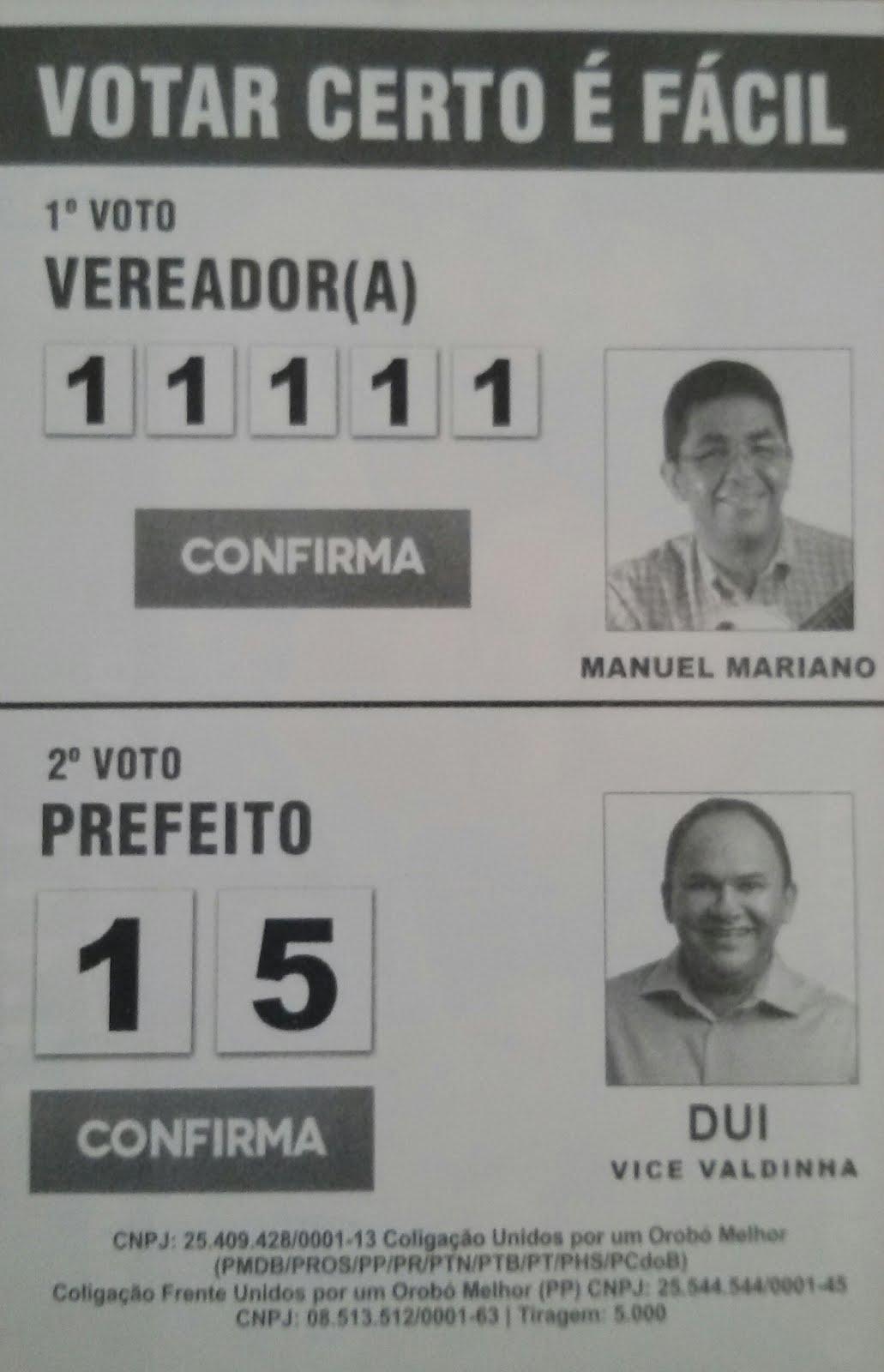Manuel Mariano vereador e Dui do Bujão prefeito de Orobó