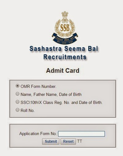 SSB Head Constable Exam 2015 Admit Card Download Hall Ticket