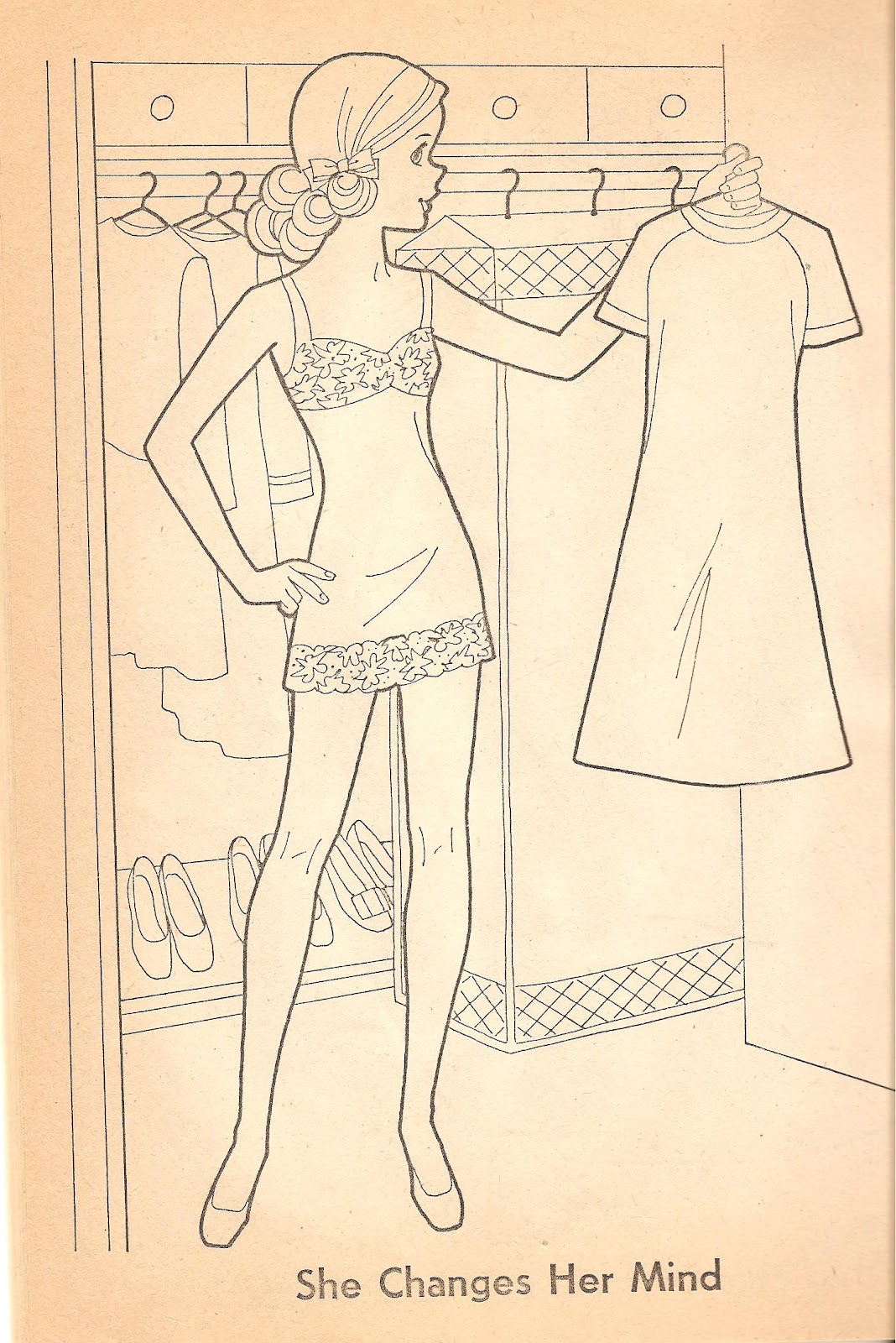 A Paper Doll From Barbie Quick Curl Coloring Book Copyright 1975 Looks Very Young In This But I Like The Art Did Not Scan All Pages