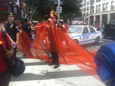 Army police with nets at Union Square