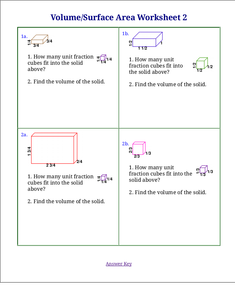 Surface Area And Volume Word Problem Worksheets together with volume ...