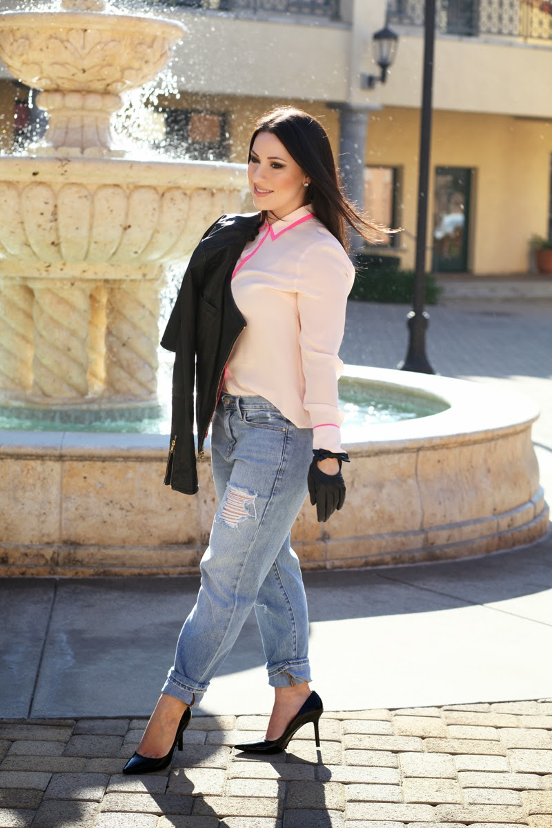 nine-west-patent-leather-pump-gap-boyfriend-jeans-leather-bow-moto-driving-gloves-jcrew-pink-silk-blouse-leather-jacket-king-and-kind-san-diego-fashion-blog
