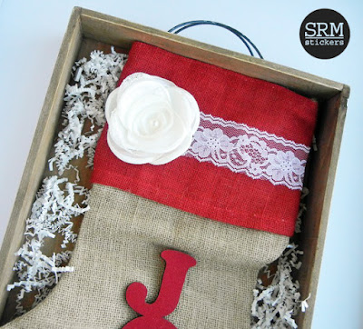 SRM Stickers Blog - DIY Burlap Christmas Stocking by Angi - #burlap #christmas #stocking #lace #DIY