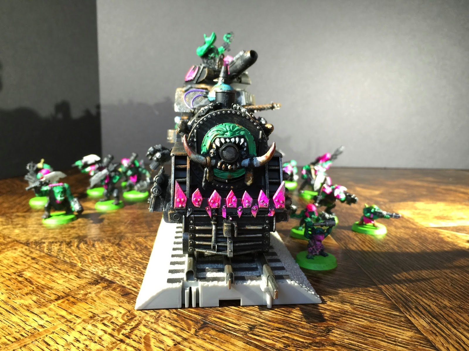 Battle Gaming One; Pink Orks; Ork Steam Train