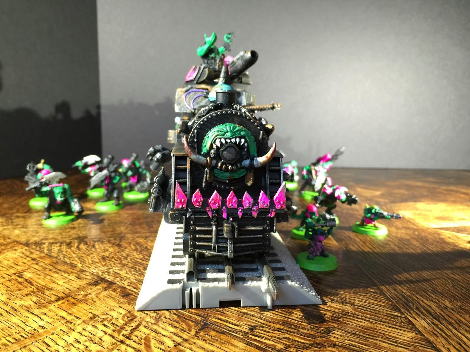Battle Gaming One; Pink Orks; Ork Steam Train