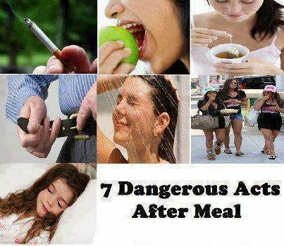 DON'T ACT THE 7 ACTIONS AFTER YOU HAVE A MEAL..Health tip and Facts