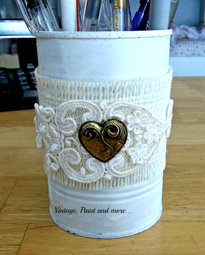 Tin Can Therapy - painted tin can with vintage lace and heart charm