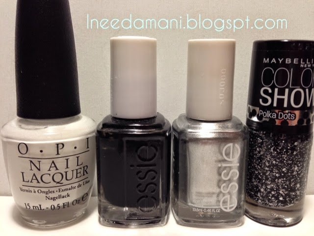 opi alpine snow essie licorice essie nothing no place like chrome maybelline color show polka dots clearly spotted