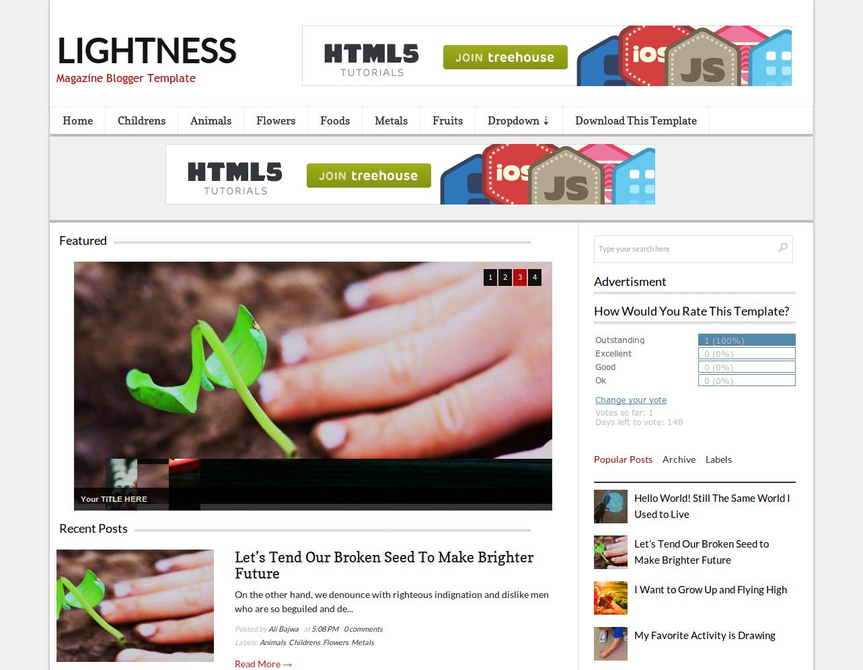 Lightness Free Blogger Template Download