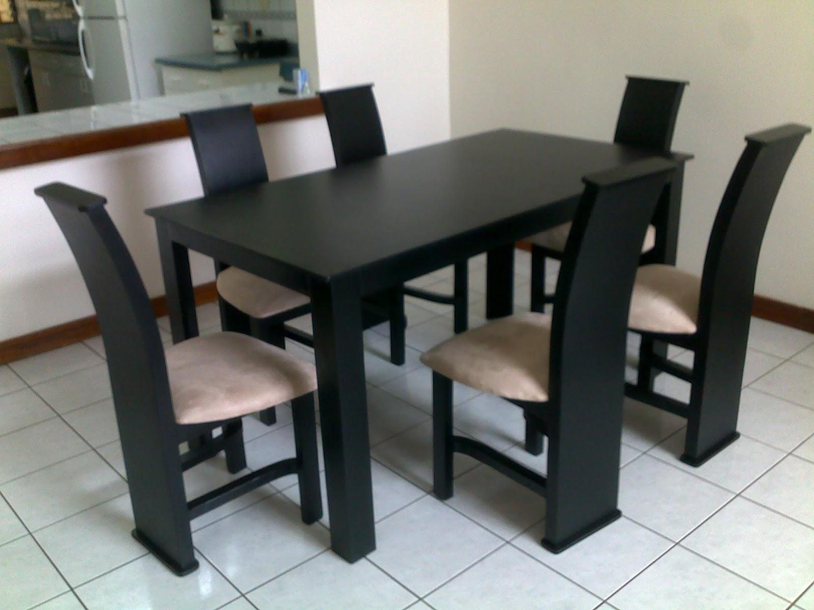 Muebles figo comedor seis sillas negro madera de pino chileno - Comedor de cuatro sillas ...