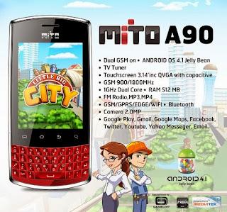 Spesifikasi Mito A90 - Android Murah untuk BBM cuma 500ribuan