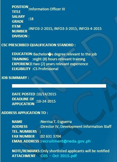 Information Officer III for Development Information Staff (Permanent)