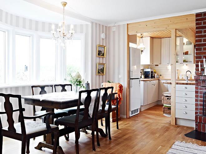 casa de campo diseño interior rustico actual -mesa de comedor vintage negra