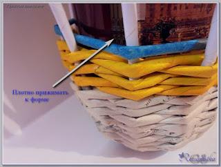 простое плетение с основой формой