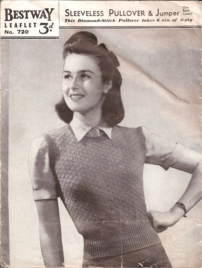 Knitting Patterns Free Vintage : The Vintage Pattern Files: 1940s Knitting - Sleeveless ...