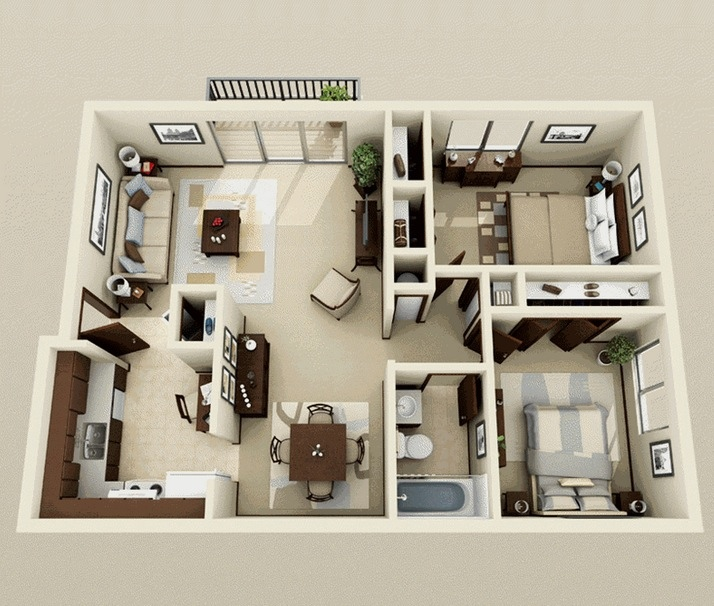50 3d floor plans lay out designs for 2 bedroom house or for Two bedroom apartment design
