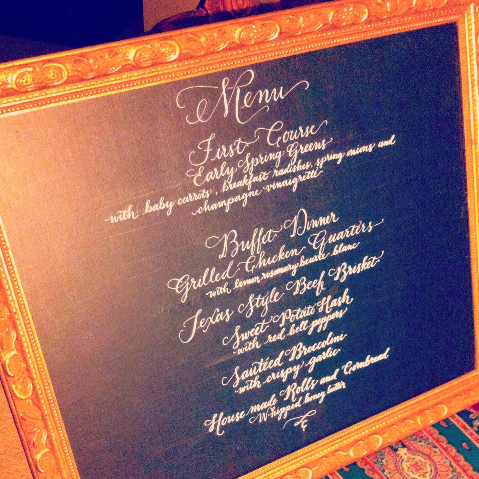 custom calligraphy wedding menu