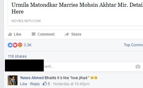 Urmila Matondkar love jihad