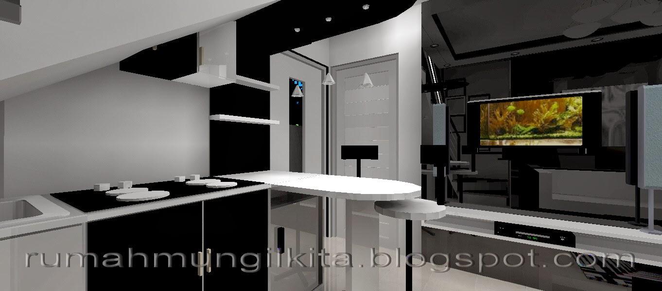 dapur bawah tangga hitam putih