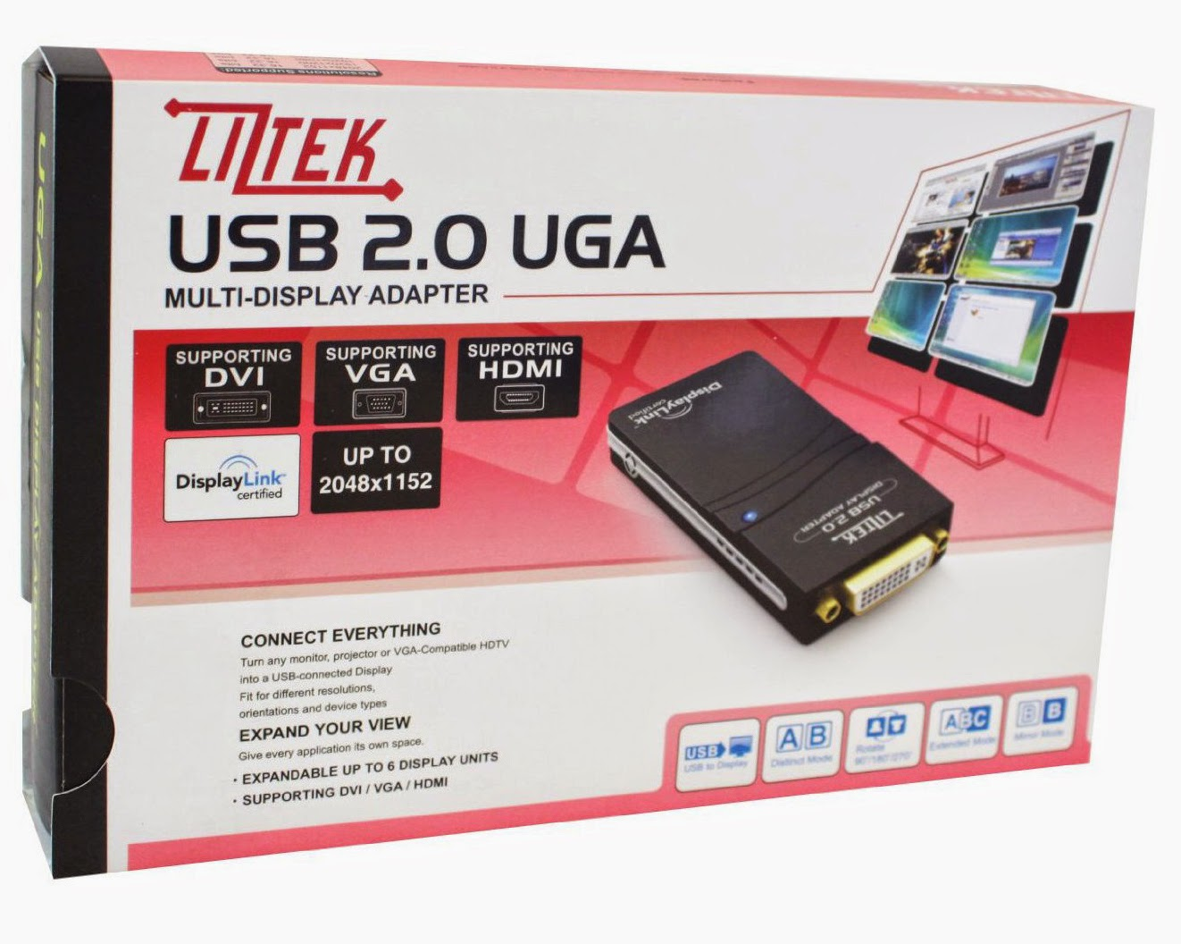 Liztek USB 2.0 to VGA/DVI/HDMI VGA / DVI / HDMI Video Graphics Adapter