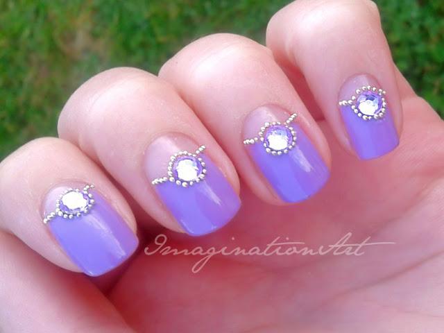 nail art semplice easy facile simply viola violet pietre stones metalli