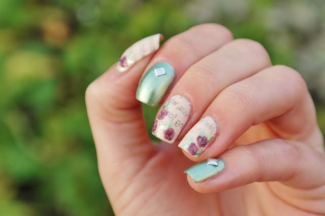 newspaper and rose nail art