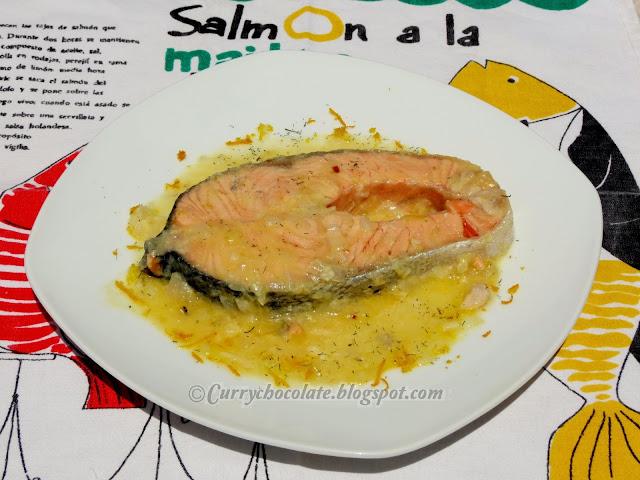 Salmón con salsa de naranja y limón